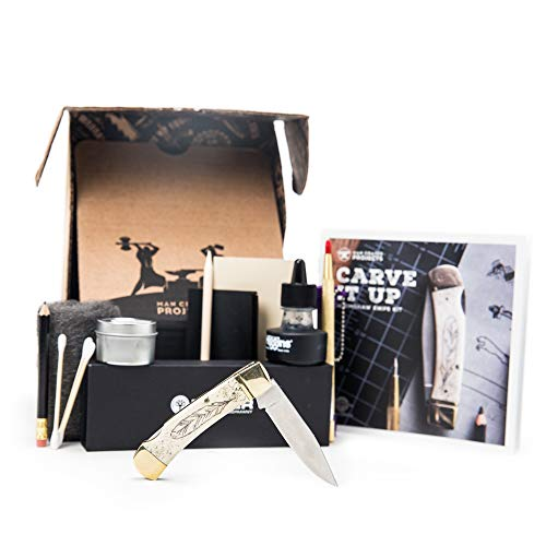 Scrimshaw Knife Kit – Featuring Stainless Steel Blade and White Bone Handle – Gentleman's Lockback Knife