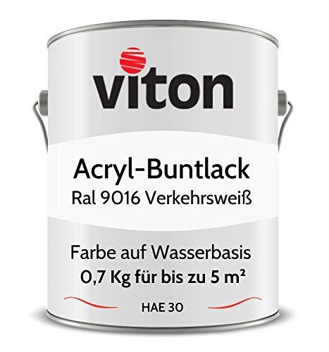 Buntlack von Viton - 0,7 Kg Weiss - Seidenmatt - Wetterfest für Außen und Innen - 2in1 Grundierung & Lack - HAE 30 - Nachhaltige Farbe auf Wasserbasis für Holz, Metall & Stein - RAL 9016 Verkehrsweiss