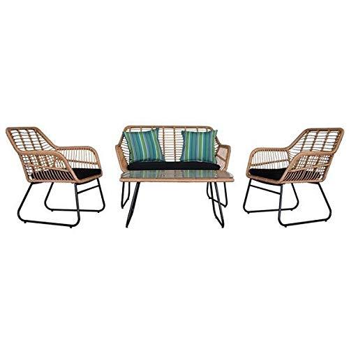 Yi-xir klassisches Design 4 stücke draußen wicker rattan stuhl tatio möbel eingestellt mit tischkissen bräunen Perfekt und komfortabel