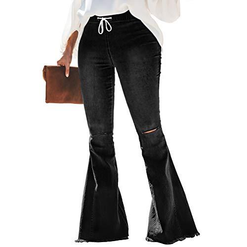 Women's Plus Size Elastic Waist Ripped Flare Jeans Distressed Skinny Stretchy Bell Bottom Jeans Classic Distressed Raw Hem Denim Pants (Elastic Waist Black, 5XL)