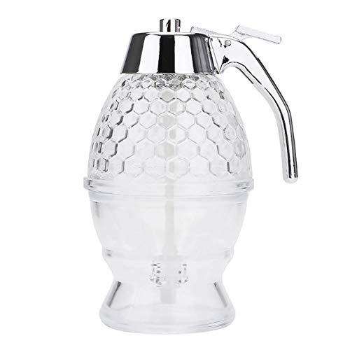 Timetided Recipiente para tanque de jarabe de miel, botella exprimible, recipiente para tarro de miel, hervidor de agua, soporte para olla, soporte para taza de jarabe de jugo, herramienta de cocina