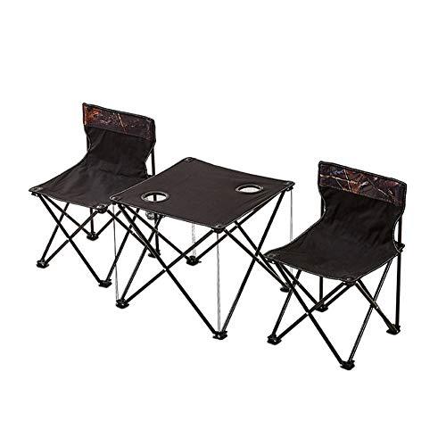 WL Acampar Vector Y Silla Conjunto De 3 Piezas De Negro Playa De Picnic Al Aire Libre Muebles De Cubierta para Cenar Al Aire BBQ Party