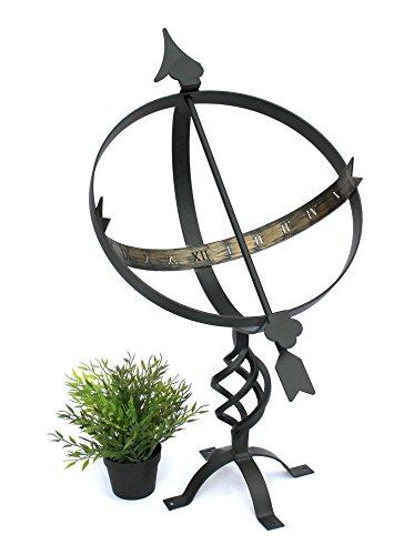DanDiBo Sonnenuhr Schwarz aus Metall Schmiedeeisen Wetterfest 72 cm Gartenuhr Uhr Garten