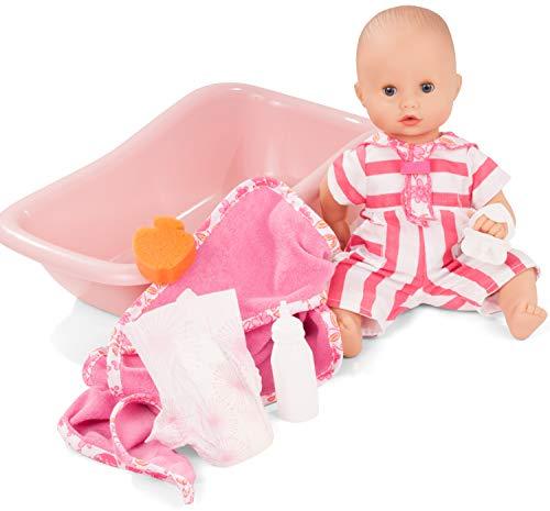 Götz 2153143 Sleepy Aquini Mädchen Stripe Vibes - 33 cm große Badepuppe mit blauen Schlafaugen, ohne Haare in 8-teiligem Set - Babypuppe ab 3 Jahren