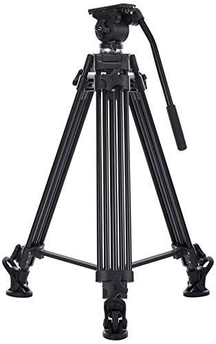 Ikan E-Image 2 Stage Aluminum Video Tripod w/ Fluid Pan/Tilt Head, Maximum Height: 63.25″, 65mm Bowl, Variable Tilt/Drag, 11lb Capacity (EG01A2) - Black