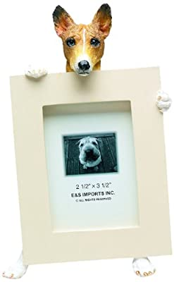 Basenji Picture Frame Holds Your Favorite 2.5 by 3.5 Inch Photo, Hand Painted Realistic Looking Basenji Stands 6 Inches Tall Holding Beautifully Crafted Frame, Unique and Special Basenji Gifts for Basenji Owners by E&S Imports, Inc