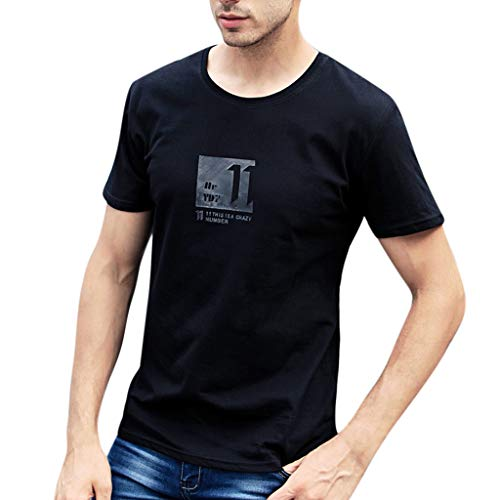 TWISFER Herren Sommer T-Shirt Rundhals-Ausschnitt Slim Fit Moderner Männer T-Shirt Drucken Crew Neck Hoodie-Sweatshirt Kurzarm Casual Top Shirt