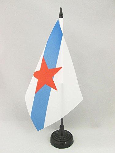 AZ FLAG Bandera de Mesa de Galicia ESTRELEIRA 21x14cm - BANDERINA de DESPACHO INDEPENDENTISTA GALLEGA - NACIONALISMO Gallego 14 x 21 cm