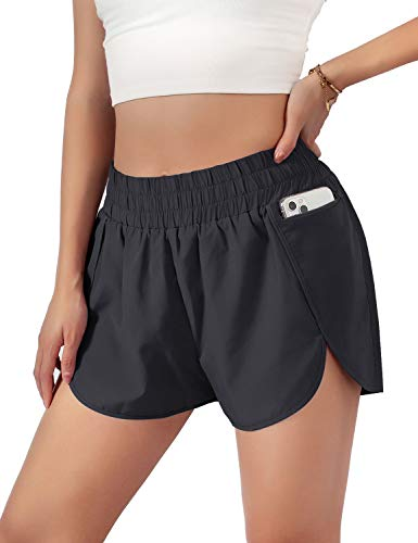Blooming Jelly Womens Quick-Dry Running Shorts Sport Layer Elastic Waist Active Workout Shorts with Pockets 1.75' (Large, Black)