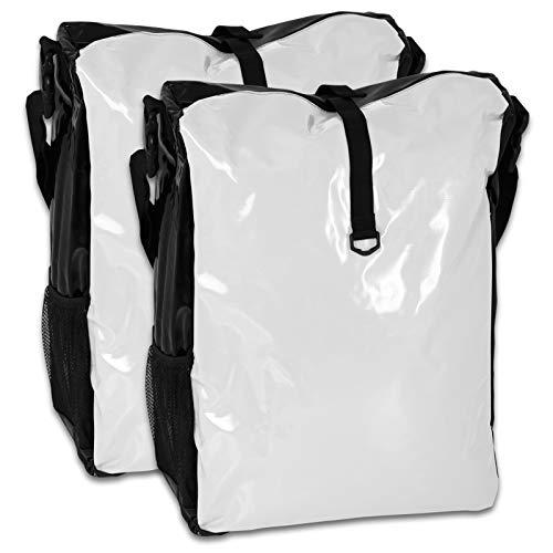 TW24 Fahrradtasche für den Gepäckträger aus LKW-Plane 2 Stück mit Farbauswahl (weiß/schwarz)