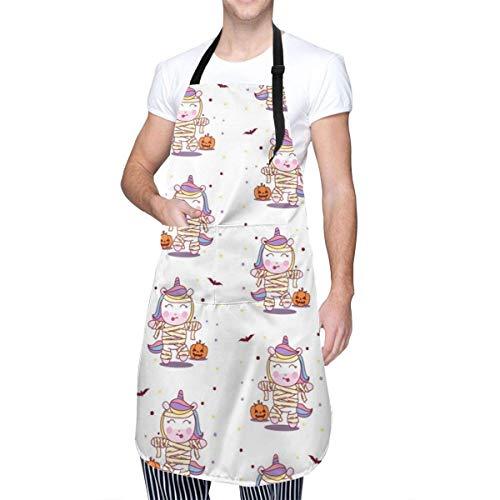 Lawenp Lindo Caballo Uso Delantal de Disfraz de Momia Delantal de Cocina cosmtico Delantal de Maquillaje Delantal de Dama Delantal de Cocina Ajustable Impermeable para Hornear jardi