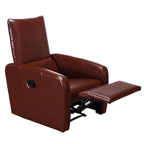 Manual reclinable Sofá Silla Moderna Plegable-Back Leather Silla reclinable Moderno Muebles for la Sala (Color : Brown, Type : One Seat)