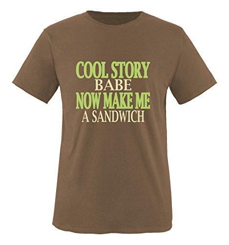 Comedy Shirts - Cool Story Babe. Now Make me a Sandwich - Herren T-Shirt - Braun/Beige-Hellgrün Gr. XXL