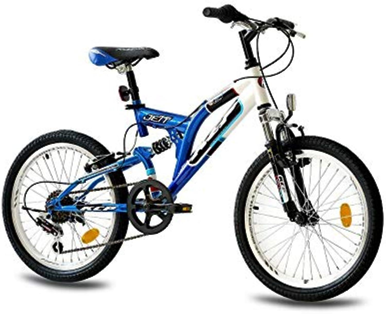 KCP 20 Zoll Mountainbike Kinderfahrrad - JETT FSF weiss blau - Vollfederung Kinder Fahrrad für Jungen und Mdchen mit 6 Gang Shimano Schaltung - für Kinder zwischen 6-9 Jahre und 1,20-1,40m Krpergre