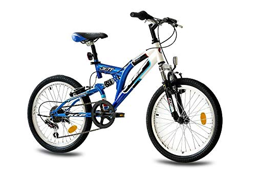 KCP 20' Mountain Bike Kids Jett FSF 6 Speed Shimano White Blue (WB) - (20 Inch)