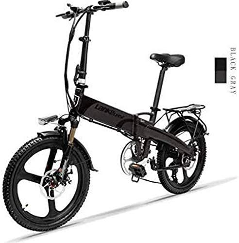 Bici electrica, 20 pulgadas plegable bicicleta eléctrica de 48V / 240W 12.8Ah batería de litio 7 Velocidad de bicicleta eléctrica 5 velocidad del varón adulto y hembra mini bicicletas de montaña con e