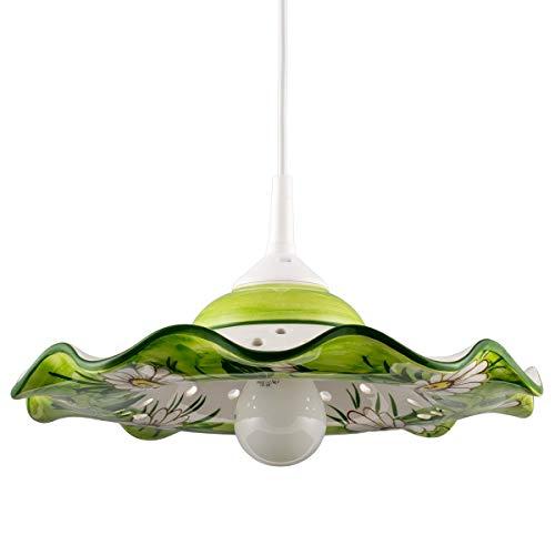 Helios Leuchten 207055 kleine Küchenlampe Keramiklampe weiss-grün | Pendellampe Pendelleuchte aus Keramik | handbemalte Keramikleuchte | Esstisch Hängelampe 1 x E27