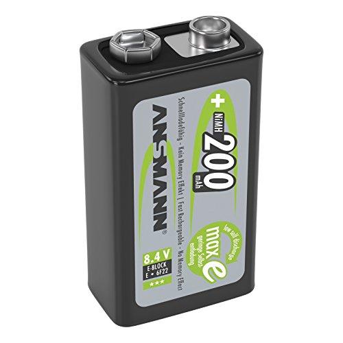 ANSMANN piles rechargeables9V / Type 200mAh / E-Bloc NiMH / 6F22 / Accumulateur préchargé avec faible auto-décharge et haute capacité / Idéal pour les jouets, les lampes de poche, les télécommandes et autres. / 1 unités