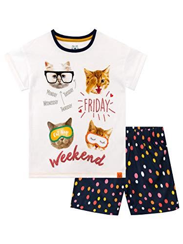 Harry Bear Mädchen Katze Schlafanzug Kurz Weiß 158