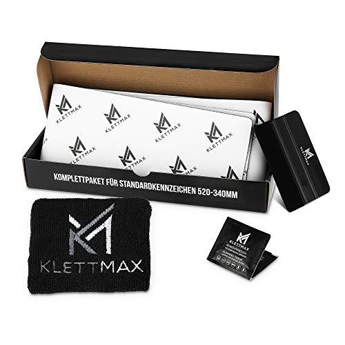 Klettmax - Original - Auto - Kennzeichenhalter - komplettes Set - rahmenlos - für alle KFZ - absolut unsichtbare - Klett - Kennzeichenhalter - extrem wetterfester Kleber - Nummernschilderhalter