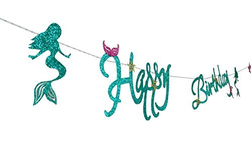E&L New Design Sparkling Blue Mermaid Style Happy Birthday Banner, Under the Sea Party Supplies, Mermaid Party Supplies, Bunting Banner, For Mermaid Themed Birthday Party, Mermaid Party Decorations, A