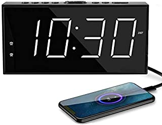Digital Alarm Clocks,Digital Clock LED Large Number Display,Alarm Clock USB Charger,Dimmer,AC Powered/Battery Backup,Easy Set Loud Alarm Clock Phone Charger for Bedroom Kids Heavy Sleepers Elderly