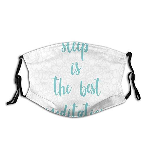 FULIYA Mascarillas faciales lavables reutilizables para mujeres y hombres, Sleep is the Best Meditation Calligraphy con un suave diseño de mandala fondo, 12 x 19 cm, tamaño mediano, unisex adulto
