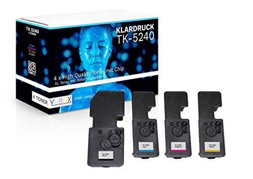 4er Set XL Toner kompatibel zu Kyocera TK-5240 für Kyocera Ecosys M5526cdw M5526cdn P5026cdw P5026cdn - mit Chip und Füllstandsanzeige
