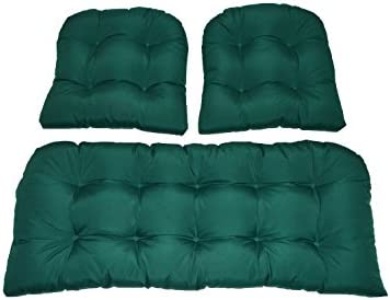 Best Resort Spa Home Decor 3 Piece Wicker Cushion Set - Solid Hunter Green Indoor/Outdoor Fabric Cushion