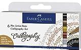 Faber-Castell 167506Tusche lápiz Pitt Artist Pen Calligraphy Set, 2,5mm, Estuche de 6, Multicolor