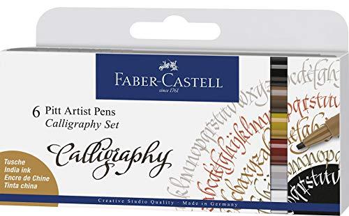 Faber-Castell 167506 Pitt Artist Pen Calligraphy - Juego de 6 bolígrafos (2,5 mm), multicolor