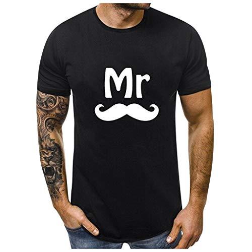 Dasongff Partner-shirt voor dames en heren, Mr Mrs, partner-look, set T-shirts voor koppels als geschenk Medium zwart/heren.