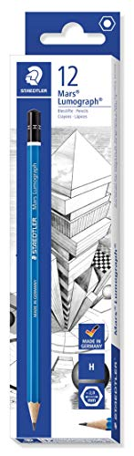 Staedtler 100-H Mars Lumograph Zeichenbleistift (Härtegrad H, Sechskantform, unglaublich bruchfeste Premium-Bleistifte, hohe Qualität, 12 ST in der Faltschachtel)