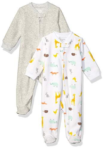 Amazon Essentials 2-Pack Microfleece Sleep and Play Infant Toddler-Sleepers, (Multi Animal), Bebé prematuro