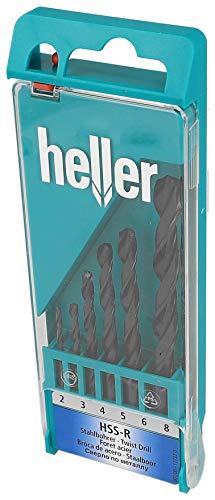Heller HSS-R Stahlbohrer DIN 338 RN, CYL, zuverlässiger HSS-Bohrer in Heller-Qualität, Set 6-tlg. Ø 2/3/4/5/6/8 mm