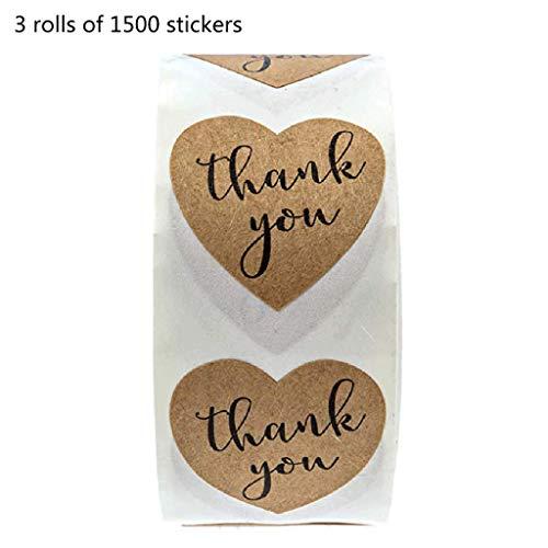Baiyao 1500 Stück Dankesaufkleber, Kraft-Herz-Siegel-Etiketten, Umschlag-Siegel-Aufkleber für Hochzeiten, Partys