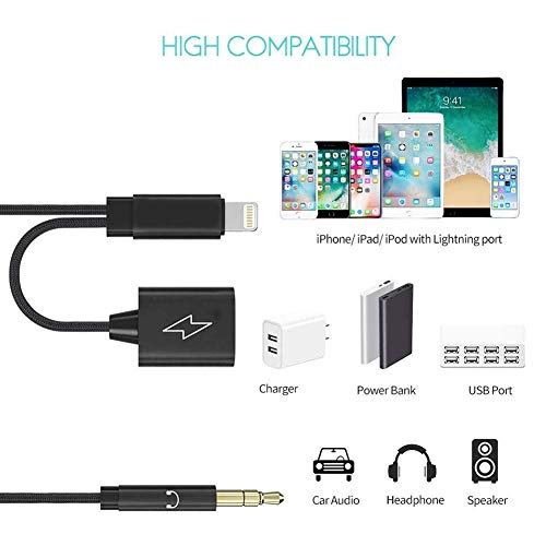 Aux and Charging Cable for iPhone,2-in-1 Car Stereo Audio Cord, with Compatible with iPhone X/XS/XR/XS MAX/8/8P/7/7P,Phone to 3.5 Male Ca   ble Support iOS 10/11/12/13 and Above (Black)
