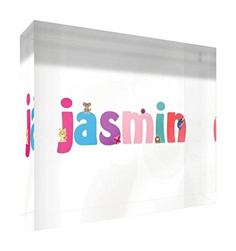 Little Helper Boîte en toile encadrée avec cadre en bois massif Motif illustration mignon Nom de la fille (19 x 46 x 3 cm, petit chloé, blanc)
