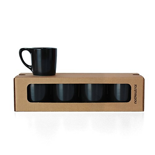 notNeutral LINO Coffee Mugs, Set of 4, Matte Black