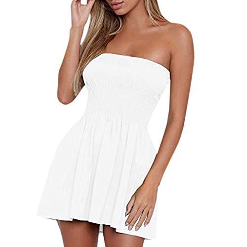 Goosuny Damen Bandeau Kleid Sexy Off Shoulder Sommerkleid Ärmellos Partykleider Minikleid Sommer Kleid A Linie Kurz Strandkleid 2020 Dress