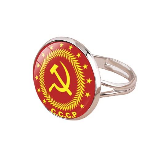 Anillo soviético de la URSS Martillo de hoz CCCP Rusia Emblema Comunismo Vidrio Anillos redondos Regalo Hombres
