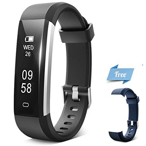 Fitness Tracker, IHONGS Activity Tracker, IP67 Water Resistant Sleep Monitor Pedometer Step Counter Bluetooth Wireless Smart Watch Wristband for Kids Women Men (Black+Blue Band)