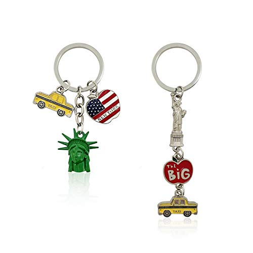 NYC Metal Keychain, New York Souvenir Color Key Ring, the Statue of Liberty, Taxi , USA Flag, The Big Apple, 2 Pack (DCK028029)