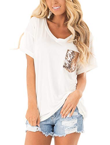 Womens Leopard Pocket Summer Tops Short Sleeves V Neck T Shirt Casual Basic Tees with Side Slits