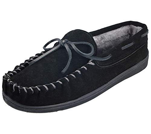 Cushion Walk Mens Real Suede Leather Moccasin Slippers Size 7-12 (10 UK, Black/Grey)