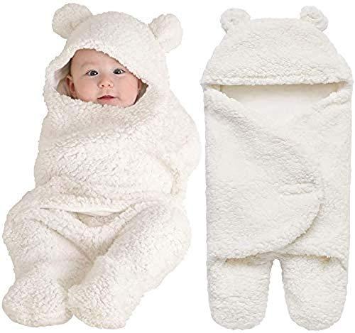 Manta Swaddle De Algodón Grueso Y Suave para Guardería Infantil, Saco De Dormir Rosa Que Recibe Mantas, Envoltura para Cochecito para Bebé,Blanco