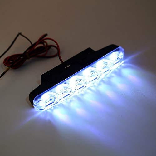 Tree-es-Life 2X xenón Blanco 6 LED superbrillante DRL Luces de conducción Diurna Faros antiniebla Impermeable vehículo Coche lámpara antiniebla Negro