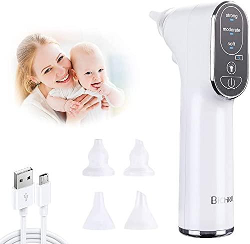 Mouche bébé, Mouche bébé électrique, Aspiration puissante avec Lampe à LED, Rechargeable avec 4 buses de ventouse en silicone réutilisables et 3 niveaux d'aspiration pour les nouveau-nés, nourrissons