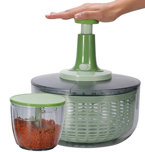 Brieftons Salad Spinner and Chopper: Large 6.3-Qt Lettuce Greens Vegetable Washer Dryer, 0.95-Qt Chopper Mixer, Compact Storage, Easy Push Operation for Quick Veggie Prepping
