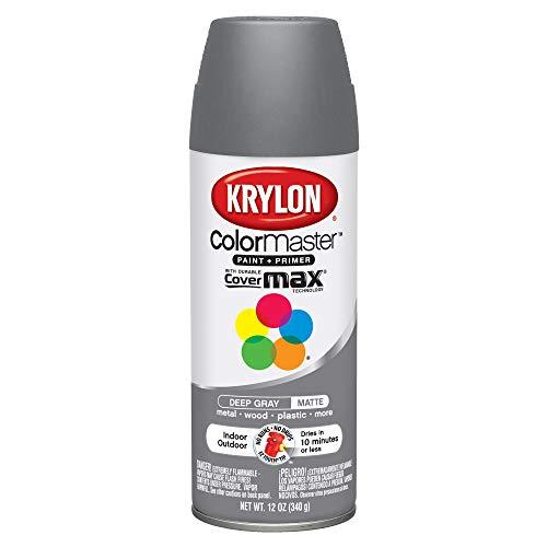 Krylon Colormaster Indoor/Outdoor Aerosol Paint, 12 oz, Deep Gray